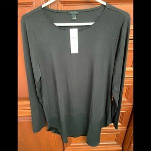 NWT AnnTaylor L/S Mixed media top Size S